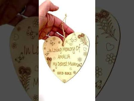 In Loving Memory Hanging Heart Memorial Remembrance Plaque